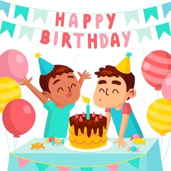 Urodzinowy chłopiec świętuje ze swoim przyjacielem