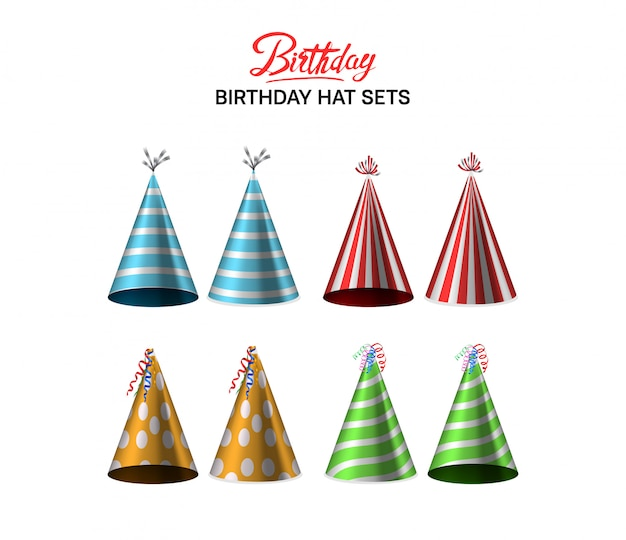 Urodzinowy kapelusz ustawia kolorową ilustrację