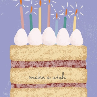 Urodzinowy szablon powitania online z ilustracją słodkiego ciasta