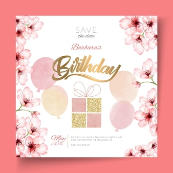 Urodzinowy szablon ulotki kwadratowej