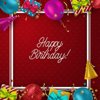 Urodzinowy szablon z kolorowymi balonami na czerwonym tle