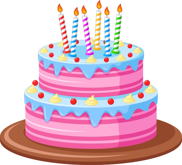 Urodzinowy tort na białym tle