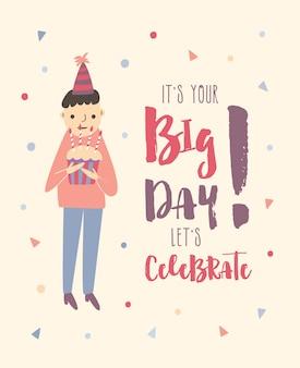 Urodziny chłopca kreskówki na sobie kapelusz party gospodarstwa ciasto ozdobione płonących świec kolorowe konfetti i uroczysty napis. ilustracja w stylu płaski dla karty z pozdrowieniami, zaproszenie na przyjęcie.
