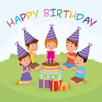 Urodziny dla dzieci strona ilustracji wektorowych