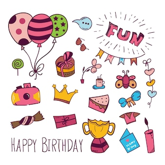 Urodziny doodle ikona w kolorze
