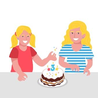 Urodziny dzieci. śliczne dziewczyny i chłopcy. szczęśliwe dzieci uśmiechnięte. przyjęcie urodzinowe. słodkie ciasto.