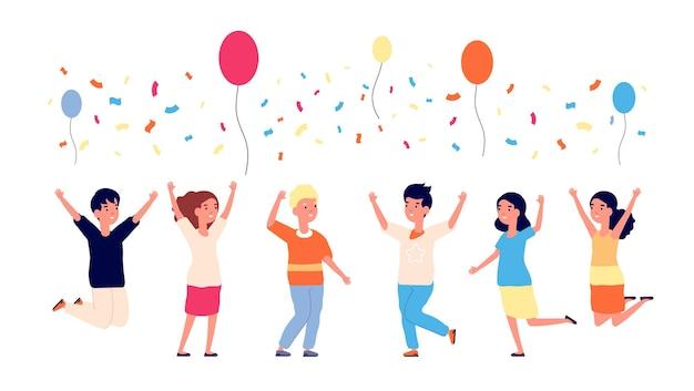 Urodziny dzieci. szczęśliwe dzieciaki, skoki, balony i konfetti. dziecko z kreskówek, tańczące postacie. grupa przyjaciół ilustracji wektorowych. happy kids party, zabawa z okazji urodzin