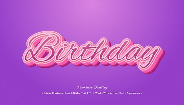 Urodziny efekt tekstowy 3d