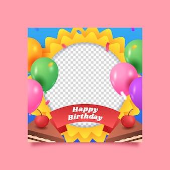 Urodziny gradientowe ramki na facebooku
