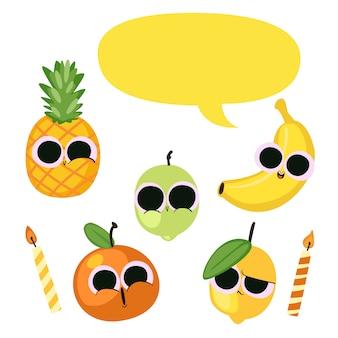Urodziny ilustracja warzywa i owoce