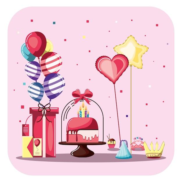 Urodziny ilustracja z ciastem i prezentami