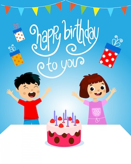 Urodziny ilustracji wektorowych dzieci