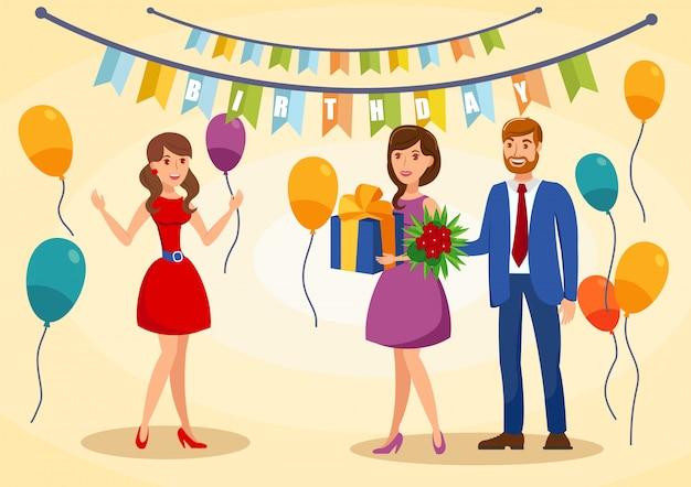 Urodziny kartkę z życzeniami ilustracji wektorowych płaski