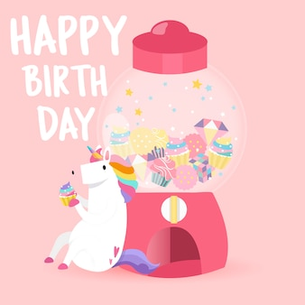 Urodziny karty śliczny szczęśliwy jednorożec wektor