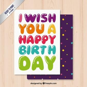 Urodziny kolorowe karty liternictwo