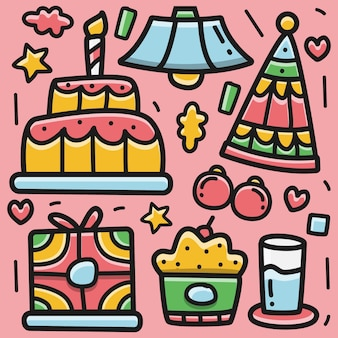 Urodziny kreskówka kawaii doodle projekt ilustracja