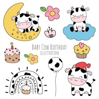 Urodziny krowy dziecka, bazgroły krowy dziecka.