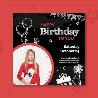 Urodziny kwadratowy szablon ulotki ze zdjęciem