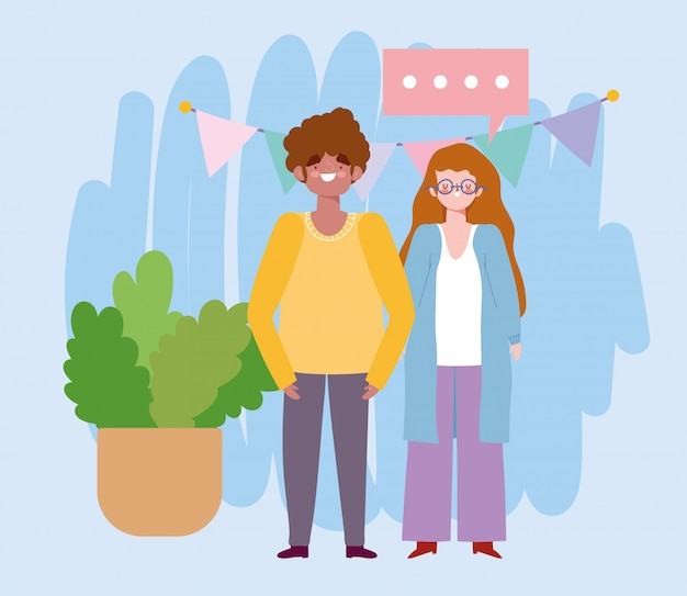 Urodziny lub spotkanie z przyjaciółmi, mężczyzną i kobietą z proporczykami dekoracji i ilustracji uroczystości