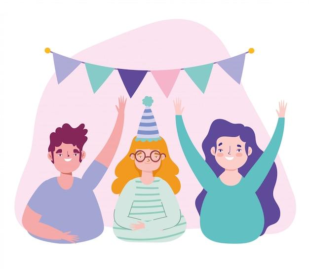 Urodziny lub spotkanie z przyjaciółmi, młodym mężczyzną i kobietami z kapeluszową filiżanką wina i proporczykami dekoracji uroczystości ilustracji