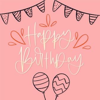 Urodziny napis wstążkami i balonami