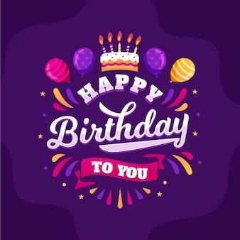 Urodziny napis z ręcznie rysowane elementy