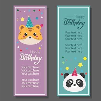 Urodziny pionowy baner z tygrysem i pandą