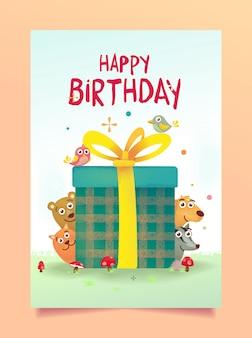 Urodziny pozdrowienia z cute zwierząt
