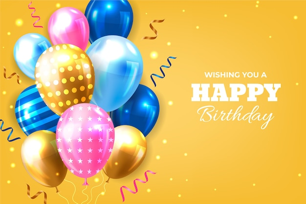 Urodziny realistyczne tło z balonów
