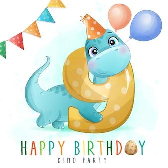 Urodziny Słodkie Dinozaura Z Numeracją Ilustracji Premium Wektorów