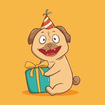 Urodziny słodkiego mopsa z trzymaniem pudełka. kartkę z życzeniami wszystkiego najlepszego