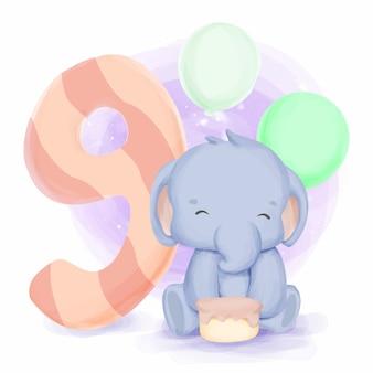Urodziny słonia dziewiąte słodkie zwierzęce dziecko dla dzieci