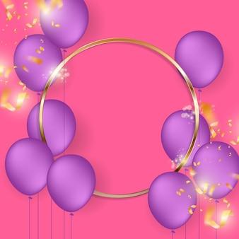 Urodziny świąteczne tło z balonów helem.