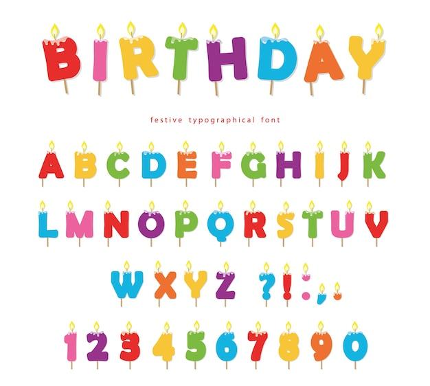 Urodziny świece kreskówka kolorowe czcionki
