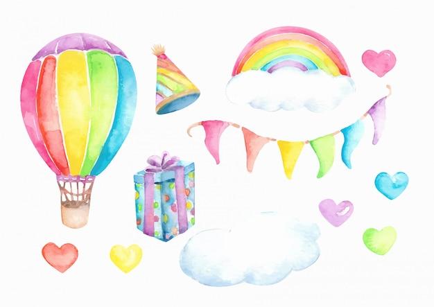 Urodziny świętować zestaw elementów akwarela
