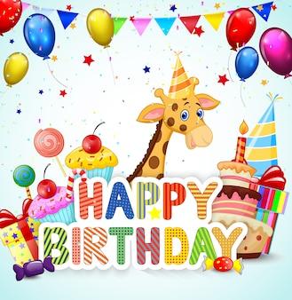 Urodziny tło z kreskówki żyrafą