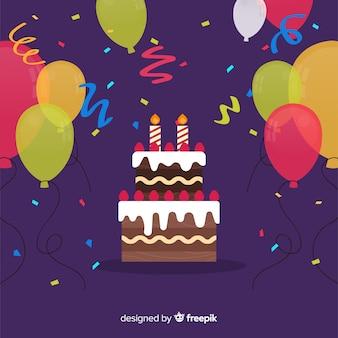 Urodziny tło płaskie ciasto