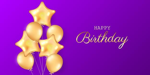 Urodziny uroczysty tło z balonów z helem.