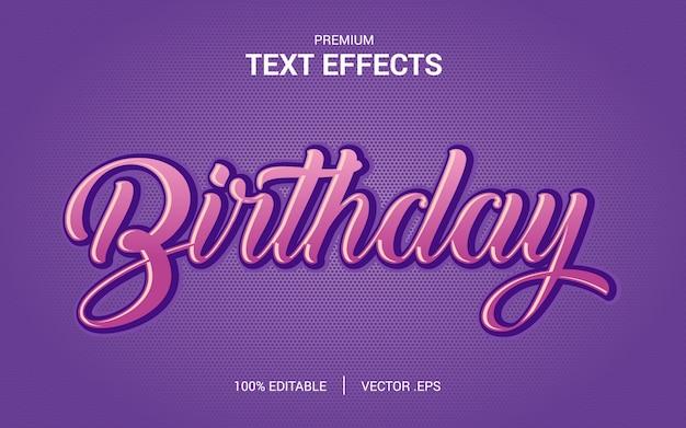 Urodziny wektory efekt tekstowy, ustaw elegancki różowy fioletowy abstrakcyjny efekt tekstowy urodziny