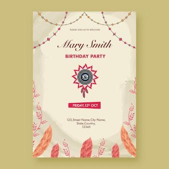 Urodziny zaproszenie szablon układu ze szczegółami zdarzeń w stylu boho.