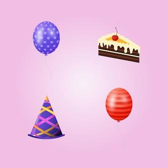 Urodziny zestaw ikon wektorowych