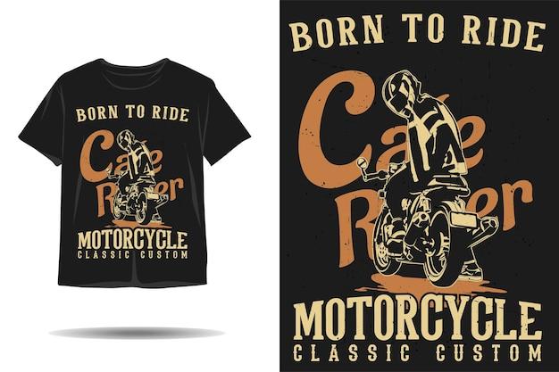 Urodzony, by jeździć na cafe racer klasyczny, niestandardowy projekt koszulki o sylwetce motocykla