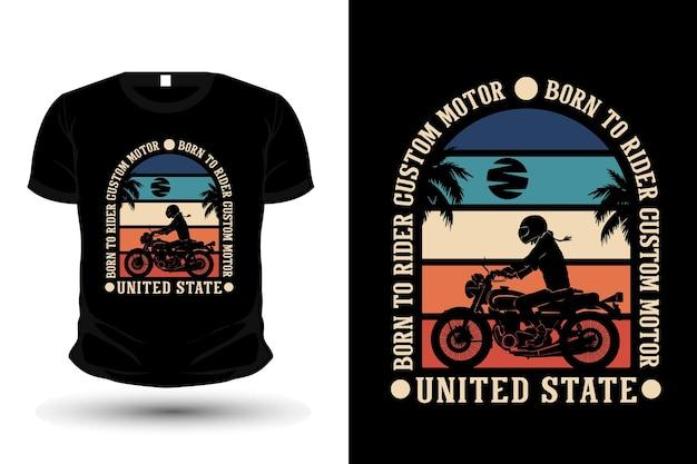 Urodzony, by jeździć na niestandardowej koszulce motocyklowej o sylwetce w stylu retro