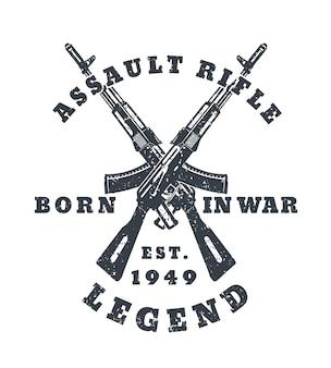 Urodzony na wojnie, nadruk na koszulce z karabinami szturmowymi, pistoletami