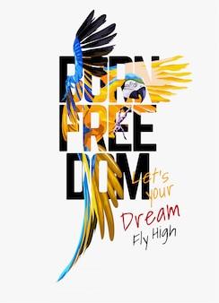 Urodzony wolności typografii na ilustracji papuga ara