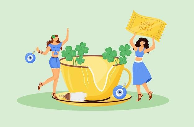 Uroki szczęścia i dobre znaki płaska ilustracja koncepcja. młode przesądne kobiety z talizmanami postaci z kreskówek 2d do projektowania stron internetowych. symbole szczęścia, pomysł twórczy powszechnych przekonań