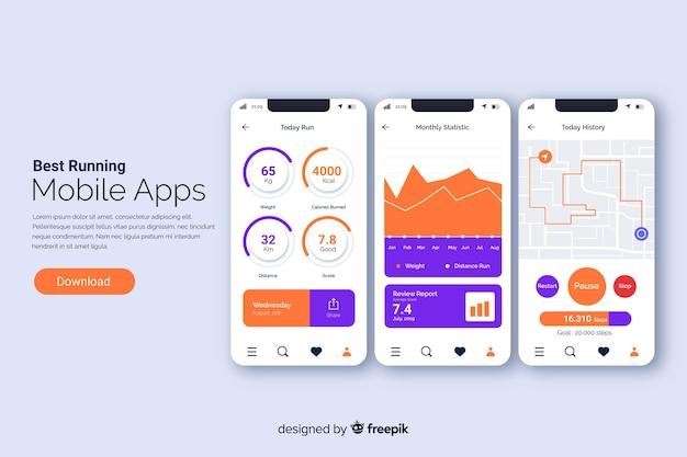 Uruchamianie aplikacji mobilnych infografika płaski