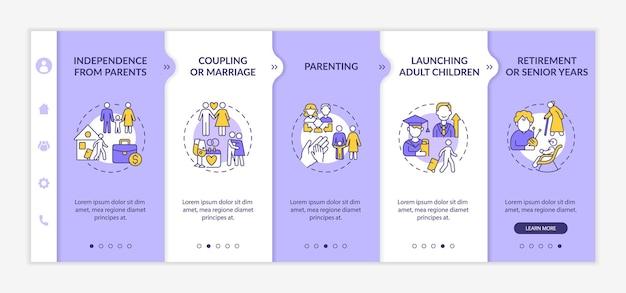Uruchamianie szablonu wektorowego onboarding dla dorosłych dzieci. responsywna strona mobilna z ikonami. przewodnik po stronie internetowej 5 ekranów krokowych. koncepcja kolorów starszych lat z ilustracjami liniowymi