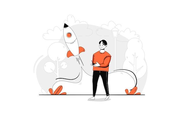 Uruchom koncepcję ilustracji uruchamiania