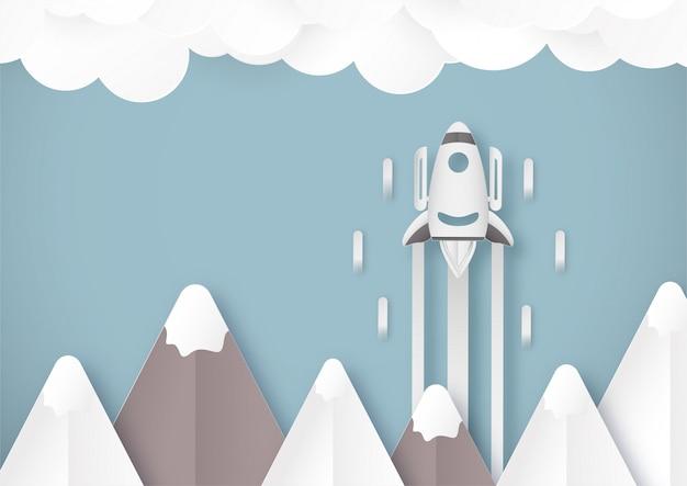 Uruchom koncepcję rakietą na niebie.